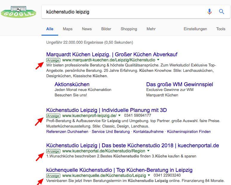 Google AdWords Anzeigenbeispiele für Küchenstudios aus Leipzig