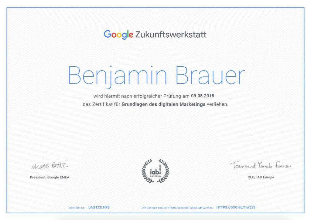 Zertifikat von Benjamin Brauer für Google-Grundlagen des digitalen Marketings 2018