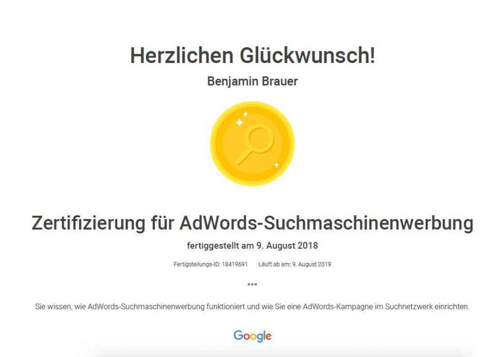 Zertifikat von Benjamin Brauer für AdWords-Suchmaschinenwerbung 2018